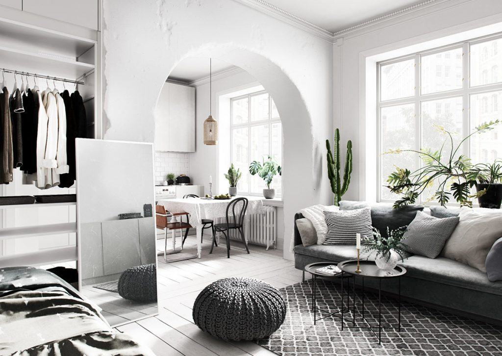 unique scandinavian living room with layered textiles and monochromatic color palette 1024x726