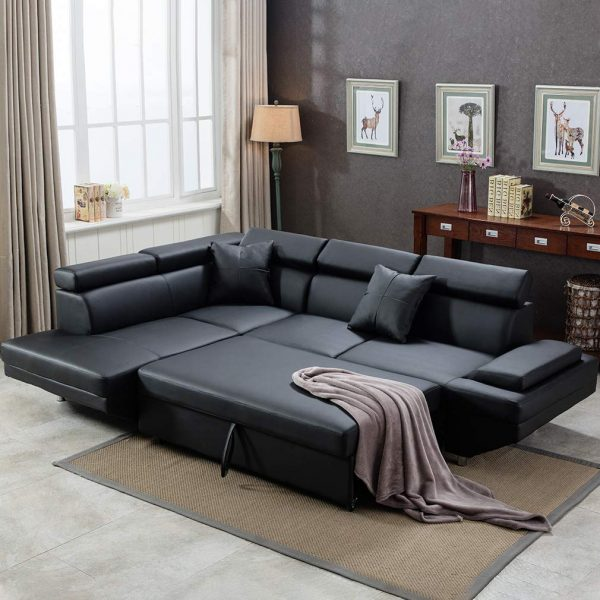 51 Sofa Beds To Create A Chic Multiuse, Black Leather Sofa Bed With Storage