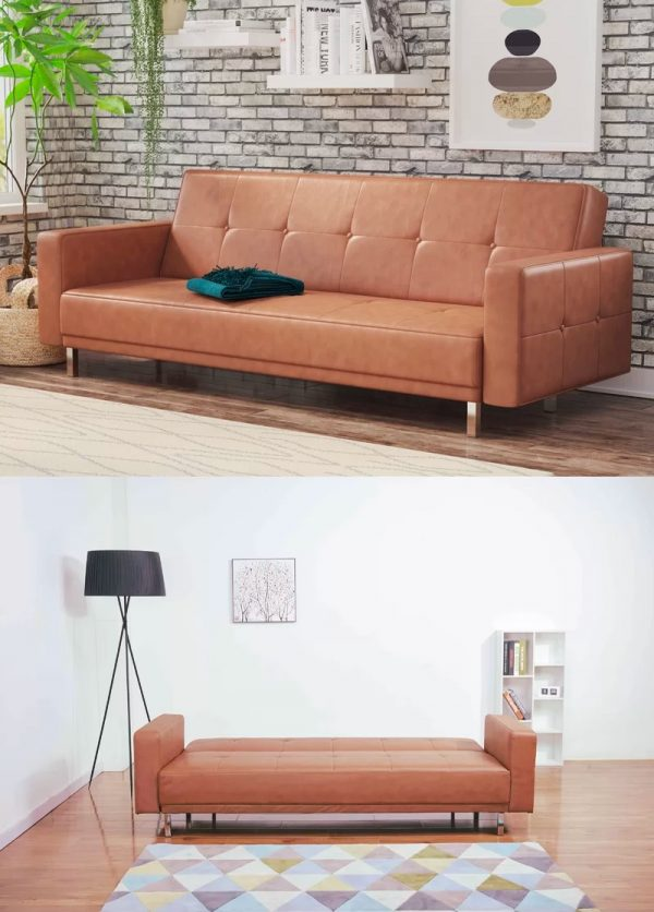 Modern Queen Size Sofa Bed Brown Leather Contemporary Futon Couch 600x836