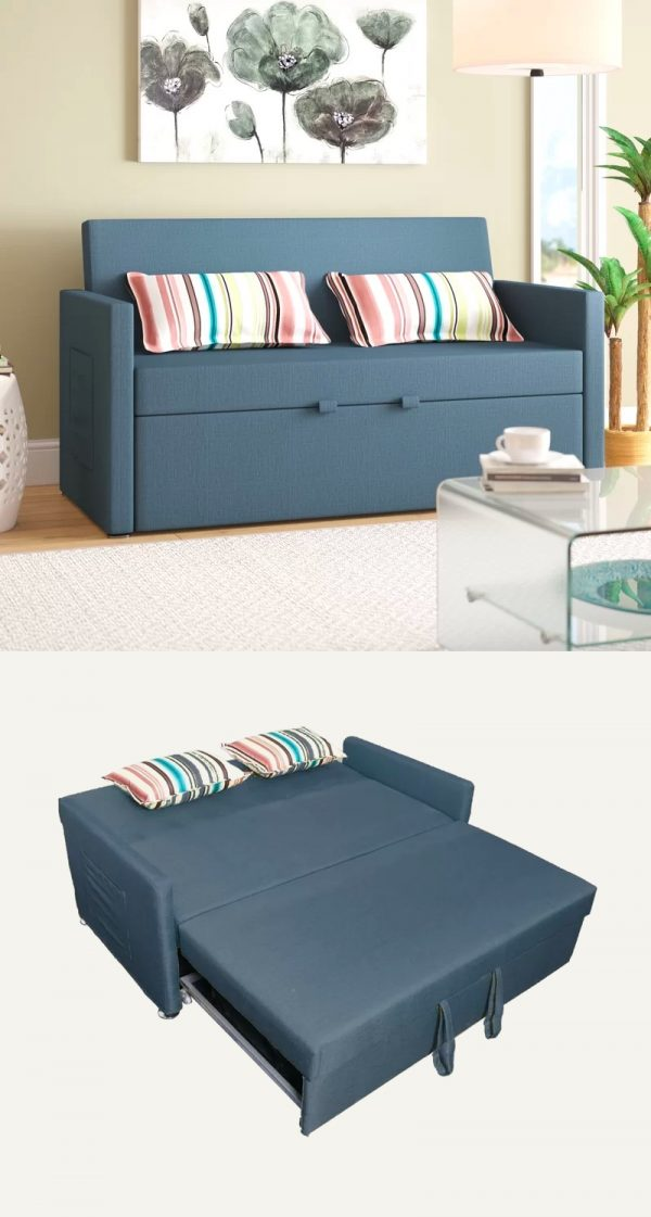 Modern Sofa Bed With Side Storage Pouch Pocket Blue Grey Color Pull Out Couch 600x1121