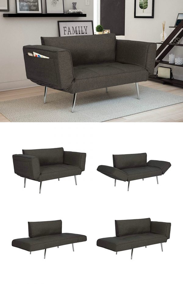 Small Modern Sofa Bed For e Single Grey Cushions Silver Legs 600x930