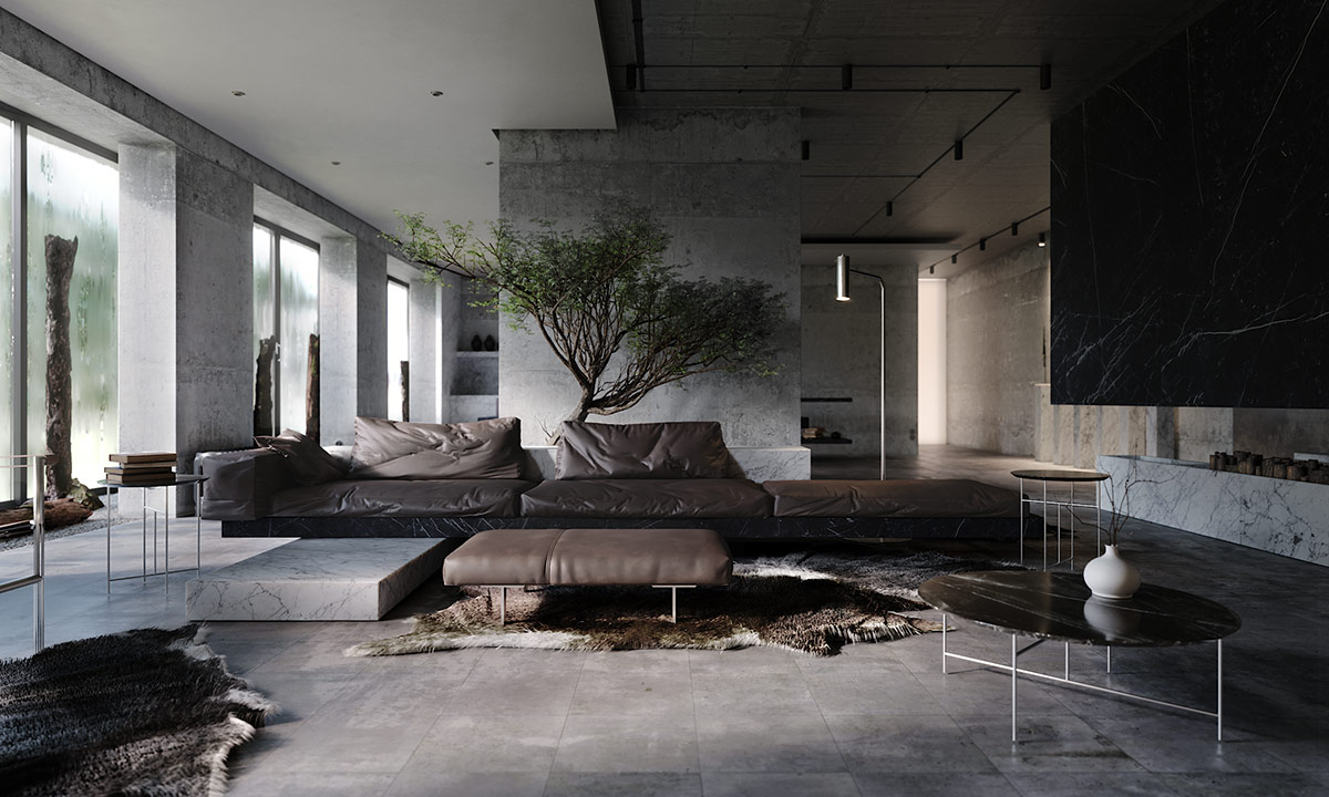 Darkly Designer Interiors Decked Out In Stone Marble And Concrete
