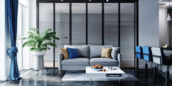 Compact And Cool Blue Interiors With Warm Accents