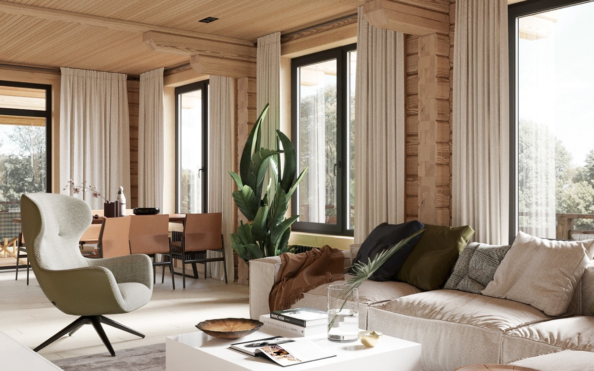Bois Pour Mur Chambre décoration : cabine rustique moderne avec des idées de