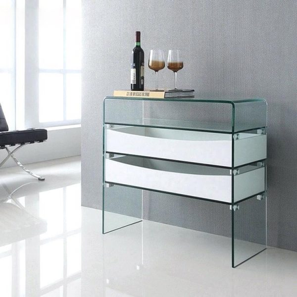 51 Console Tables That Take A Creative Approach To Everyday Storage And Display - Modern White Console Table With Storage