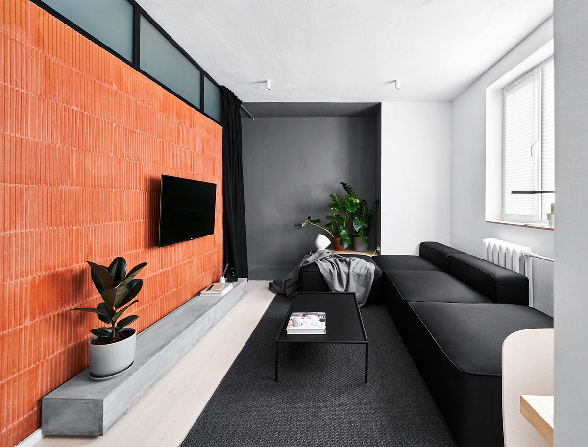 Small Apartments Under 40sqm In Sharp Black White Wood Decor With Floor Plans