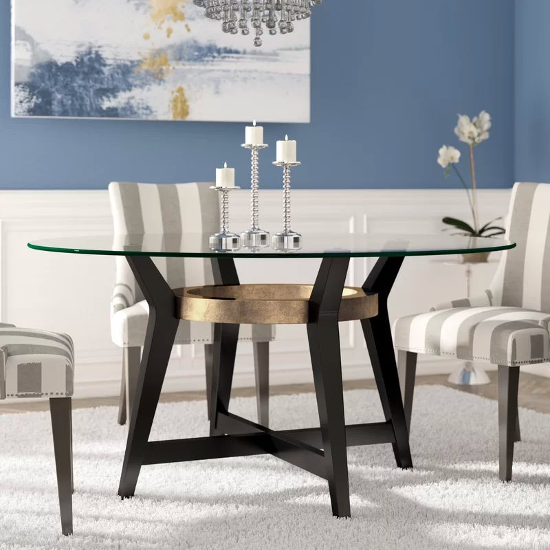 Circular Glass Dining Table With Dark, Glass Dining Room Table With Wood Base