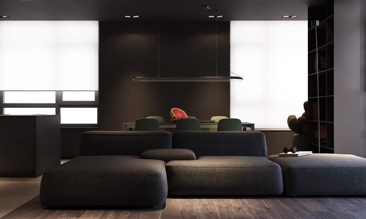 Eastern Geprägt, Minimalistisches Interieur In den Farben Mausgrau und Unreif