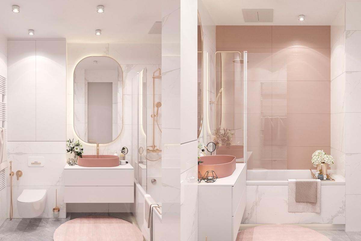 Salle De Bain Saumon décoration : 51 salles de bains roses avec des conseils, des