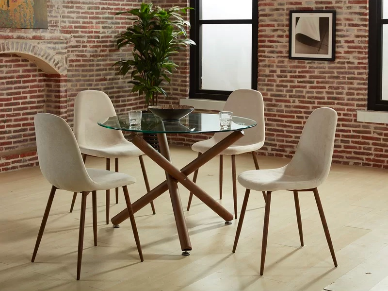 Round Glass Dining Table Set With, Round Glass Dining Table With Four Chairs