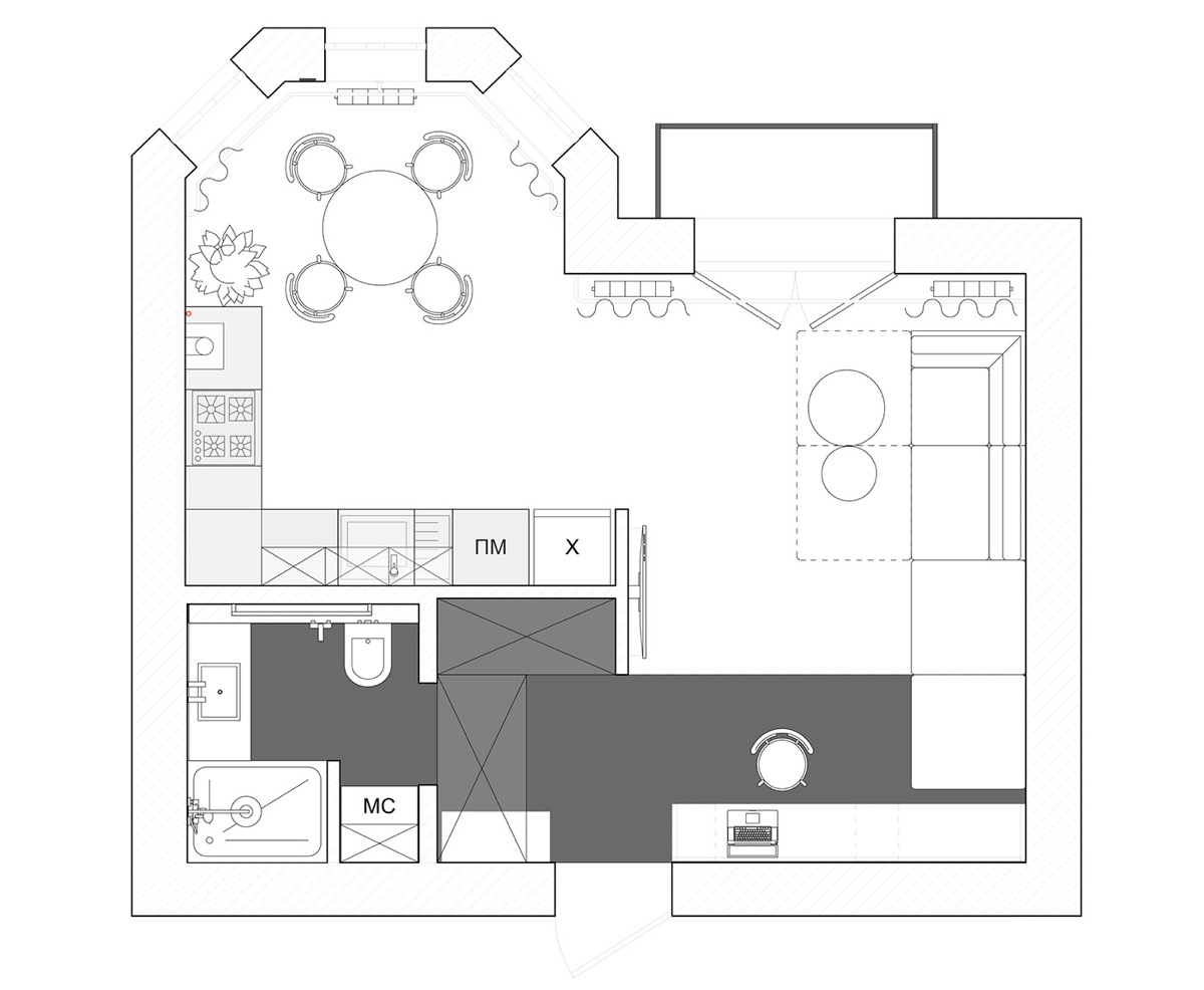 Small Apartments Under 40sqm In Sharp Black, White & Wood ...