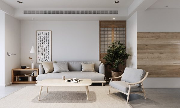 Eastern Influenced Minimalist Interiors In Shades Of Grey and Green