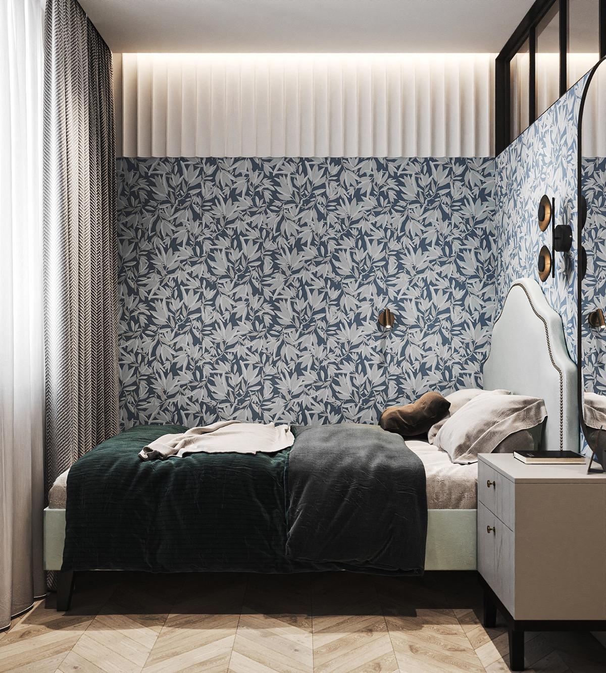 captivating blue bedroom | Captivating Blue & Green Accent Interiors Under 55 Sqm ...