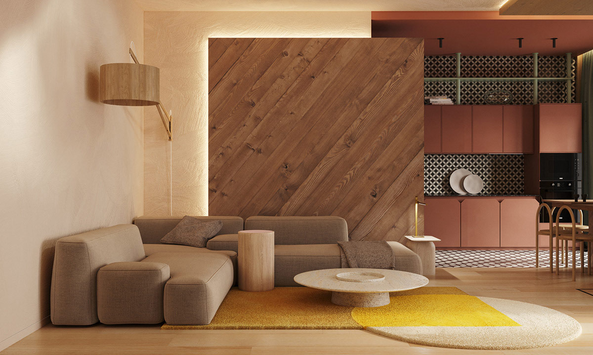 Red Accent Home Interior Shaped With