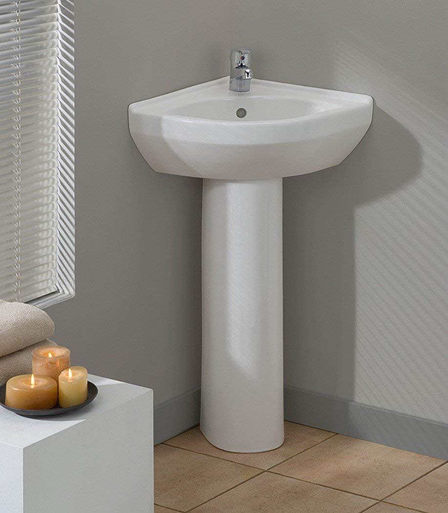 Simple Corner Pedestal Sink For Small Bathrooms Interior Design Ideas