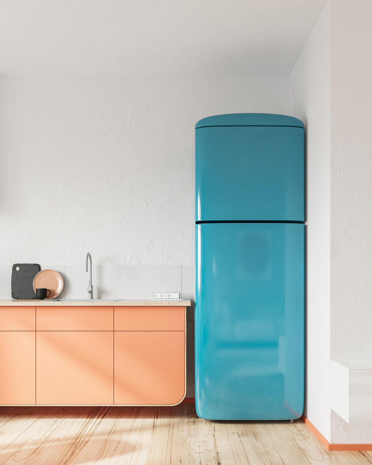 Creating Space With Orange And Blue Decor