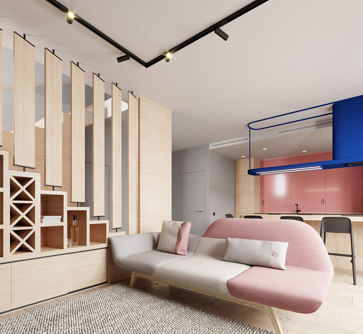 Pink And Grey Home Interiors With Cool Unique Design Features