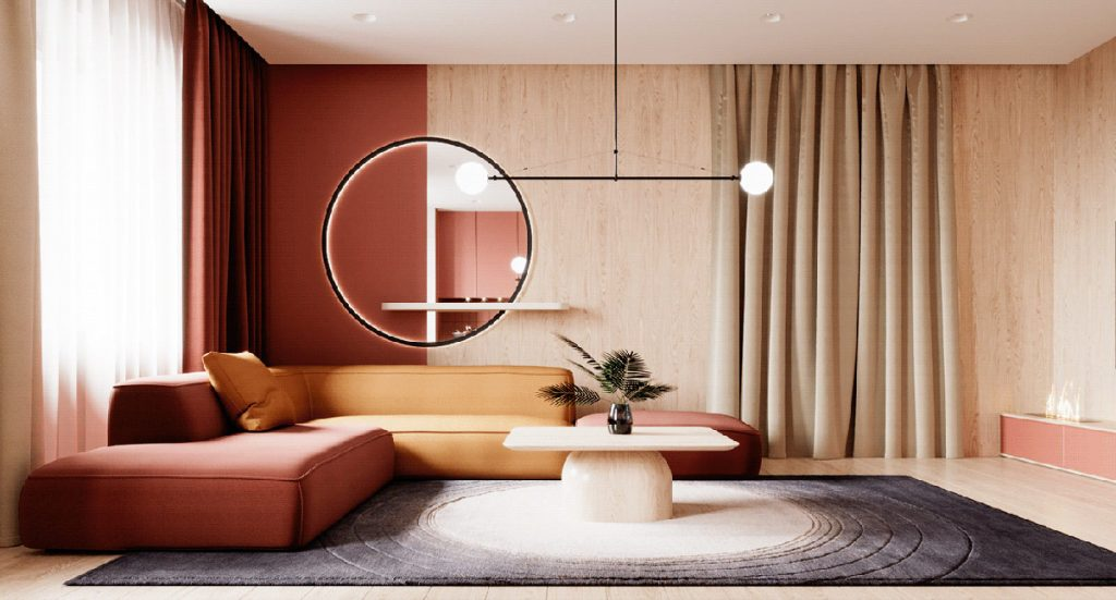 Two Modern Home Designs Woven With Red, Orange And Gold