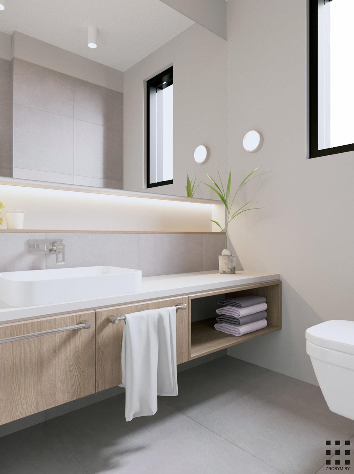 Bathroom Vanity With Towel Shelf Interior Design Ideas