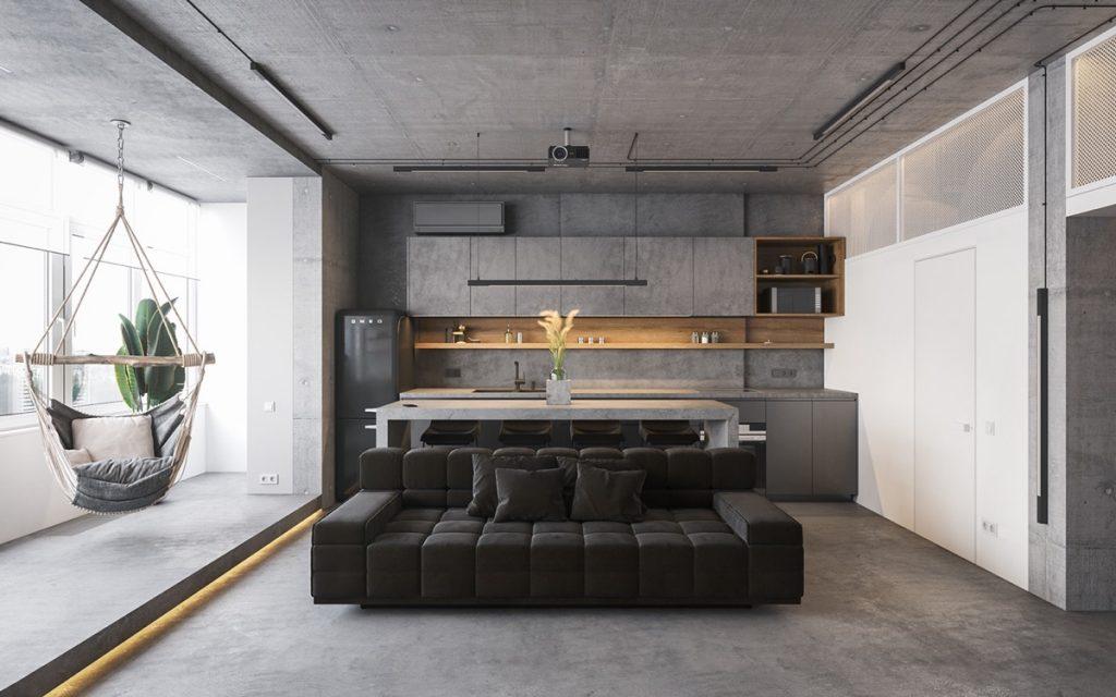 Concrete Monochrome Interiors That Incorporate Glass Wall Rooms