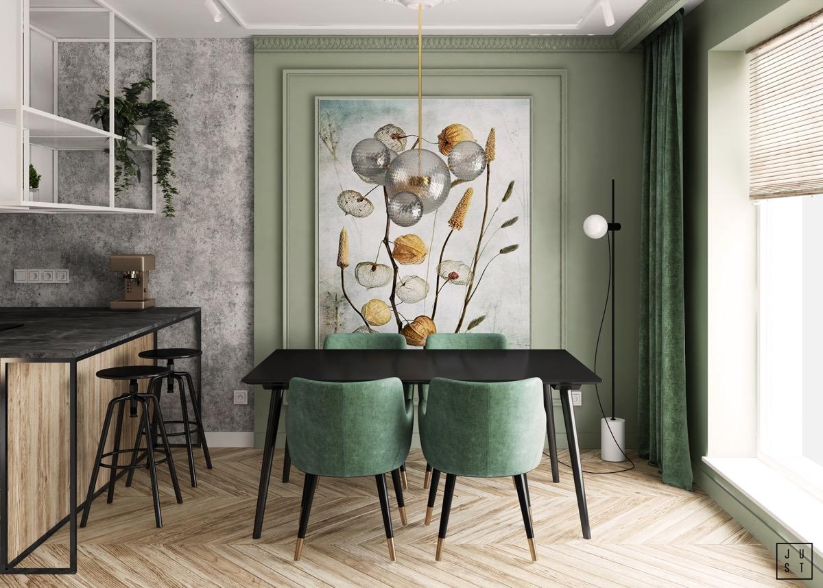 Green Velvet Dining Chairs Interior, Green Velvet Dining Room Chairs