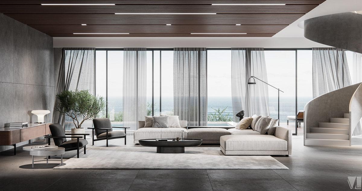Luxury Living By The Ocean, Living Room Luxury