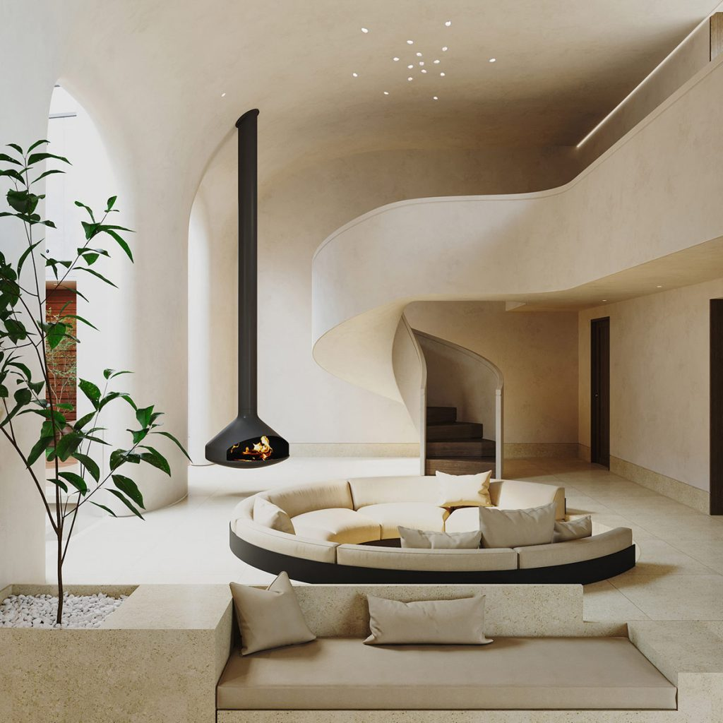 Creamy Home Interior With Curvaceous Staircase Design & Courtyard