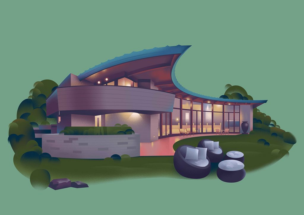 Artistic Illustrations Of Homes By Frank Lloyd Wright