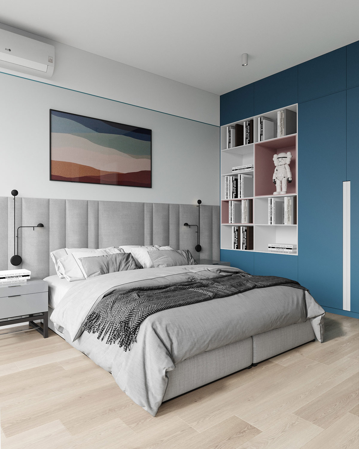 sweet and soothing pink and blue interiors