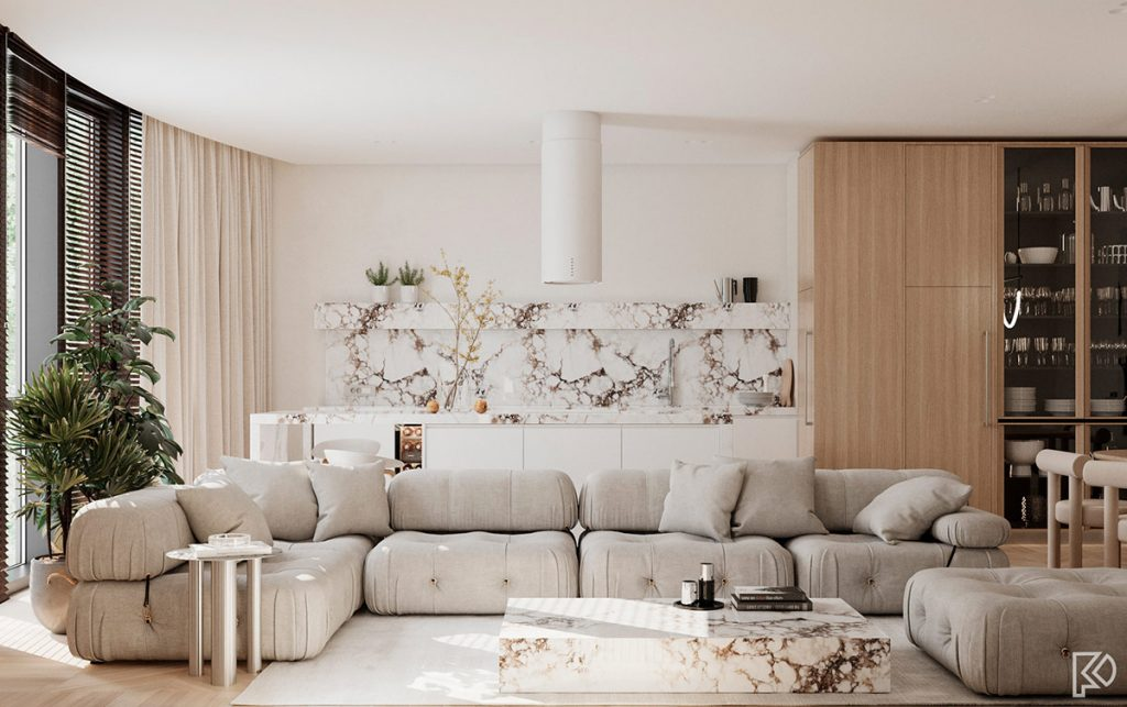 Light And Cosy Minimalist Moods With White Marble & Wood Accents