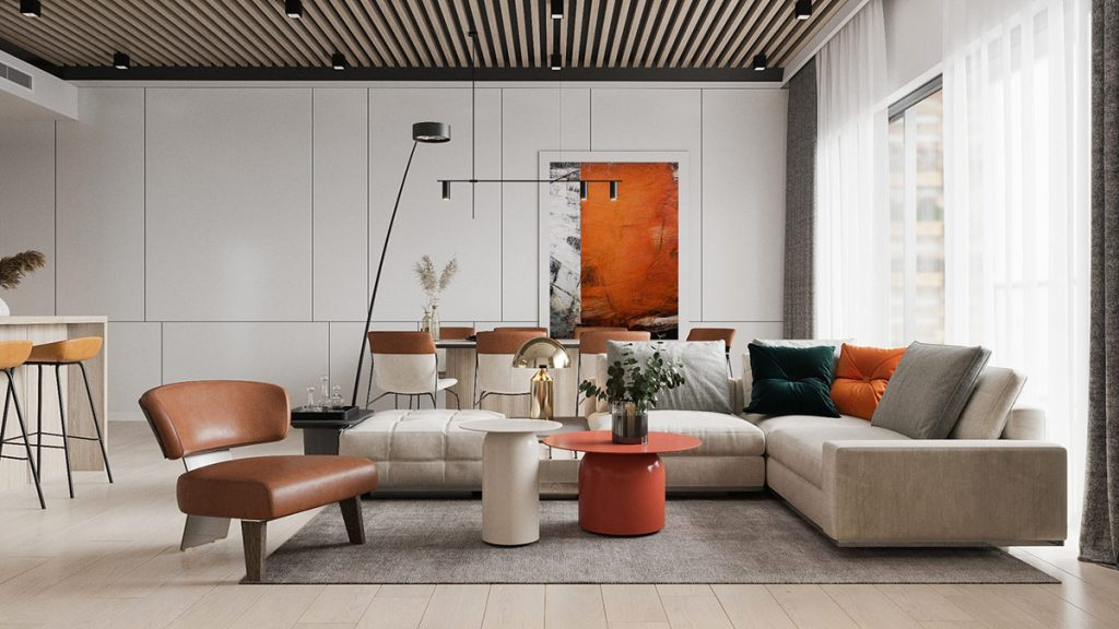 Adding Heat To Neutral Interiors With Fiery Orange Accents