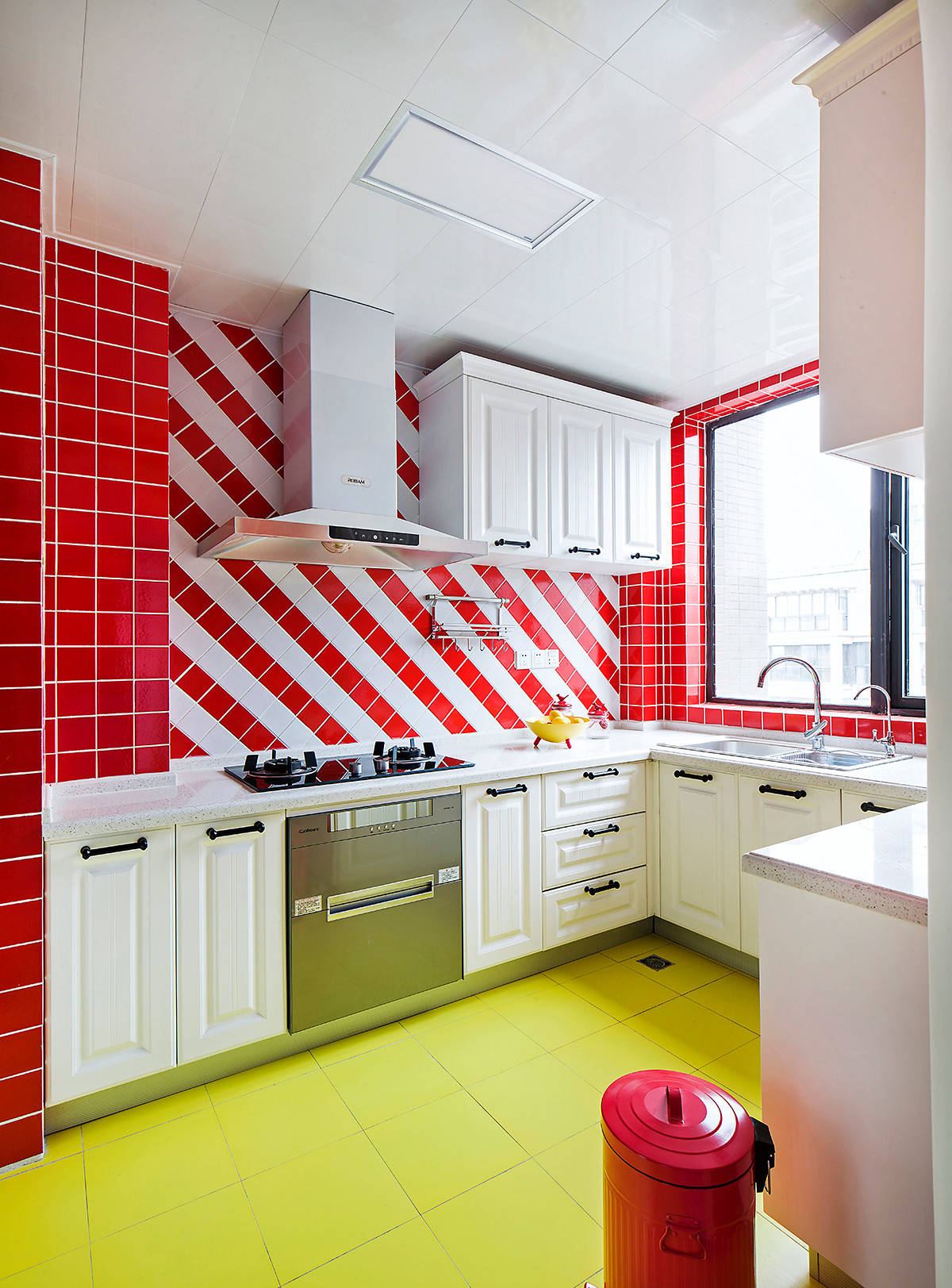 Red And White Kitchen Tiles Interior