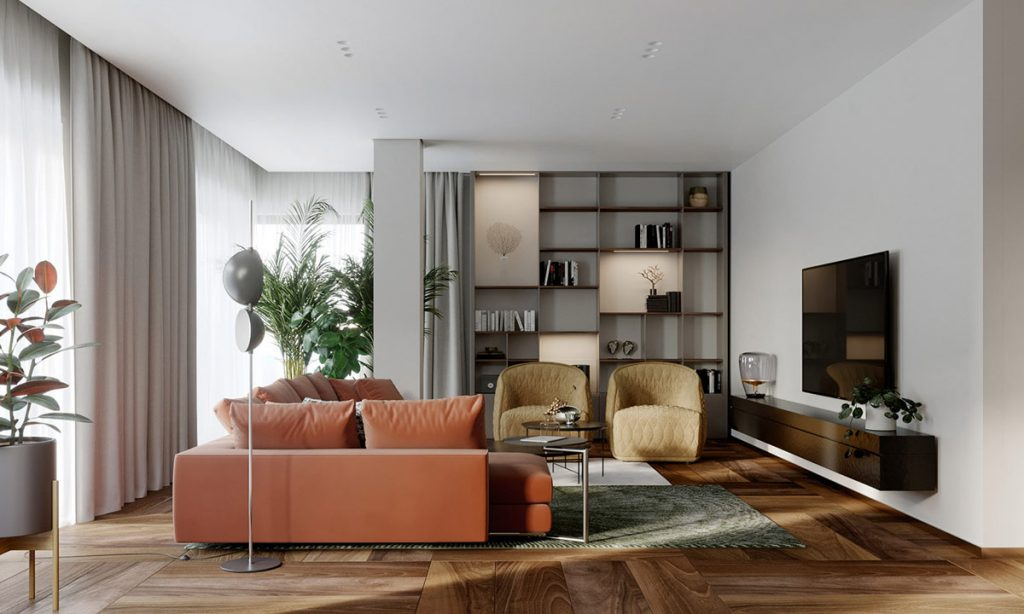 Enriching 160 Sqm Interiors With Brown, Red & Rust Accents (Plus Floor Plans)