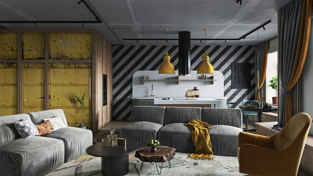 Industrial Home Interior With Energising Yellow Decor