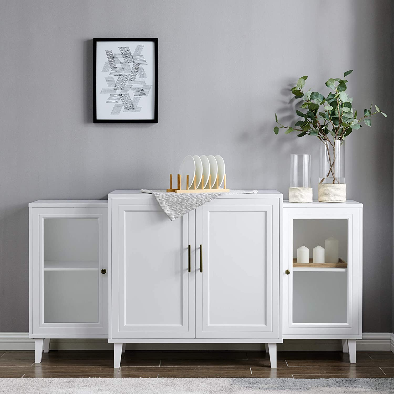 White Sideboard Buffet With Glass, White Dining Room Storage Cabinet
