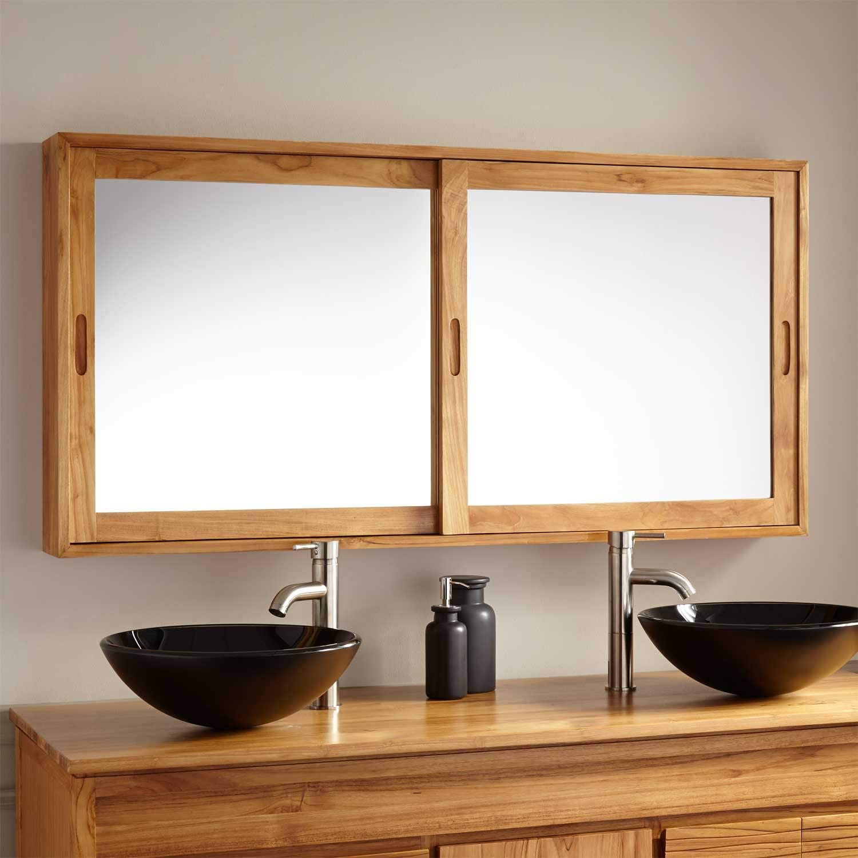 Bathroom Mirror Cabinets With Sliding Doors Large Solid Teak Medicine Cabinet For Vanity Nordic Modern Bath Design Interior Design Ideas