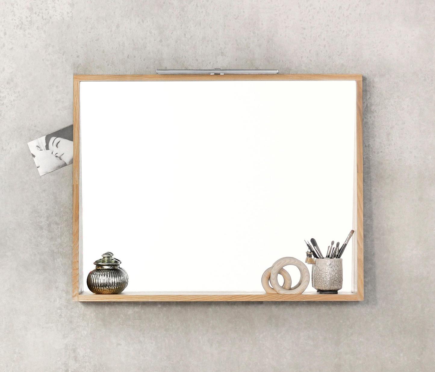 Bathroom Mirror With Shelf Minimalist, Oak Framed Bathroom Mirror With Shelf