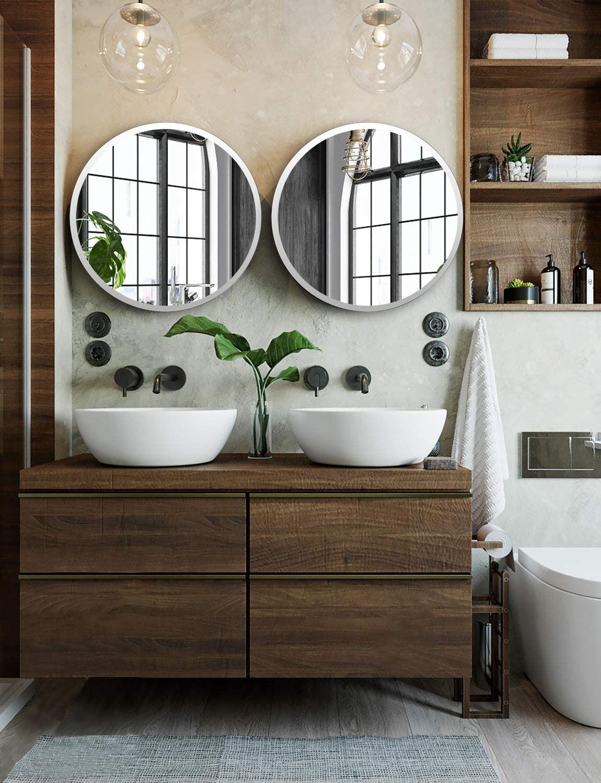 Discount Bathroom Mirror Circular With Brushed Nickel Frame Versatile Modern Bath Vanity Ideas Powder Room Redecorating Interior Design Ideas