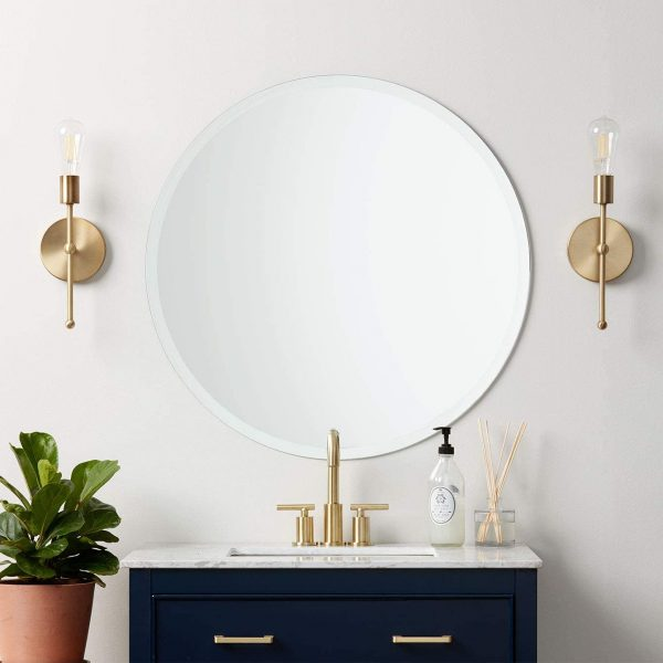 51 Bathroom Mirrors To Complete Your, What Size Round Mirror For A 48 Vanity